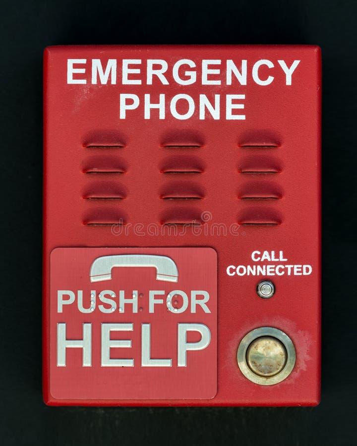 Czerwony przeciwawaryjny telefonu pchnięcia guzika mówca fotografia royalty free