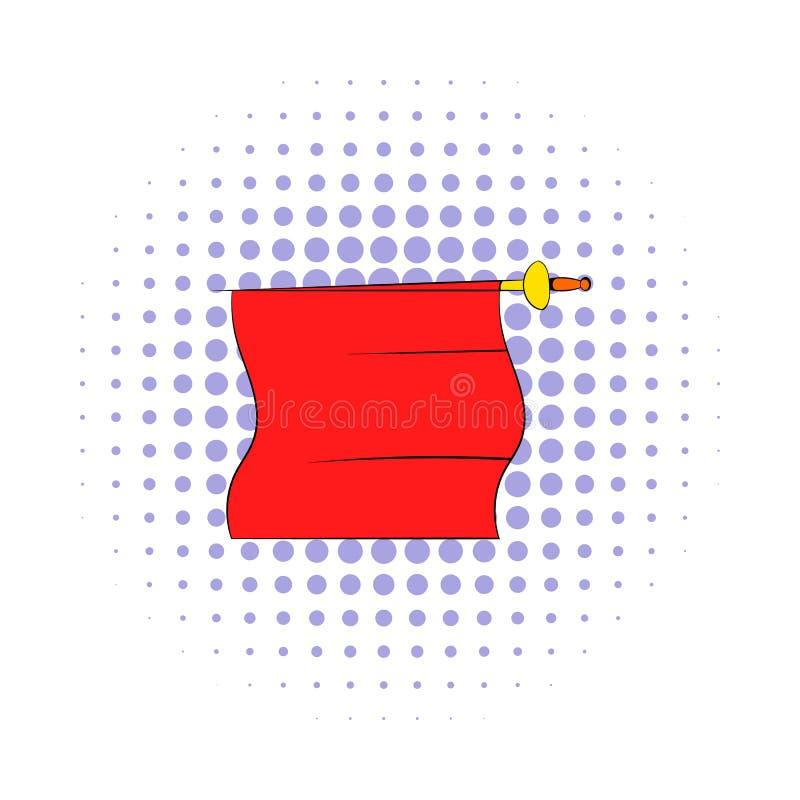 Czerwony przylądek bullfighter ikona, komiczki projektuje ilustracji