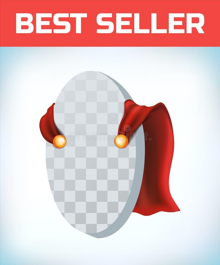 Czerwony przyl?dek Super bohatera przylądek Czerwona super peleryna Charakteru bohatera logo Kierownika lider Przyw?dctwo poj?cie royalty ilustracja