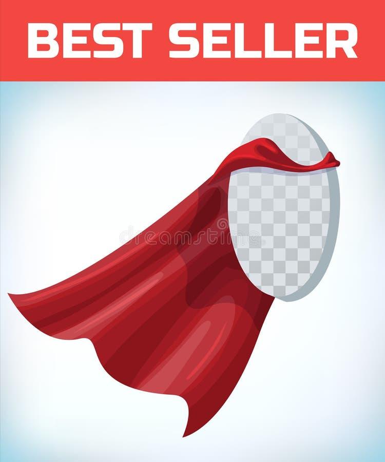 Czerwony przyl?dek Super bohatera przylądek Czerwona super peleryna Charakteru bohatera logo Kierownika lider Przyw?dctwo poj?cie ilustracji