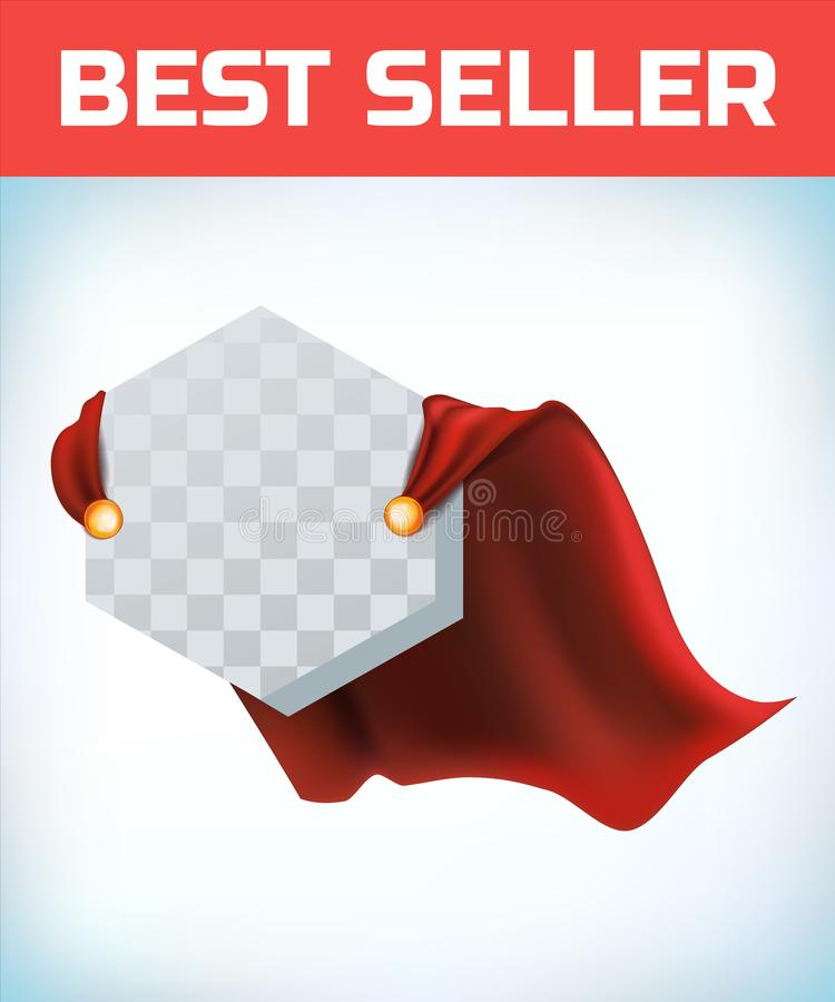 Czerwony przyl?dek Super bohatera przylądek Czerwona super peleryna Charakteru bohatera logo Kierownika lider Przyw?dctwo poj?cie ilustracja wektor