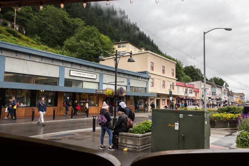 Czerwony Psi bar, umieszczający przy Franklin St, Juneau obrazy stock