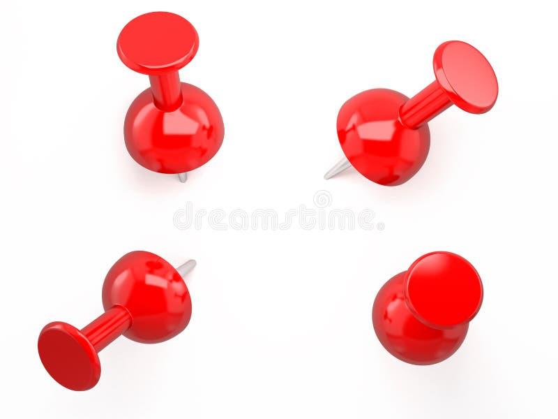 Czerwony pushpin. 3d wizerunek. Odosobniony biały tło. ilustracja wektor