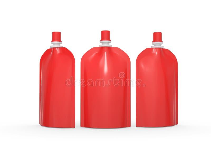 Czerwony puste miejsce stoi up torbę pakuje z spout deklem, ścinek ścieżka ilustracji