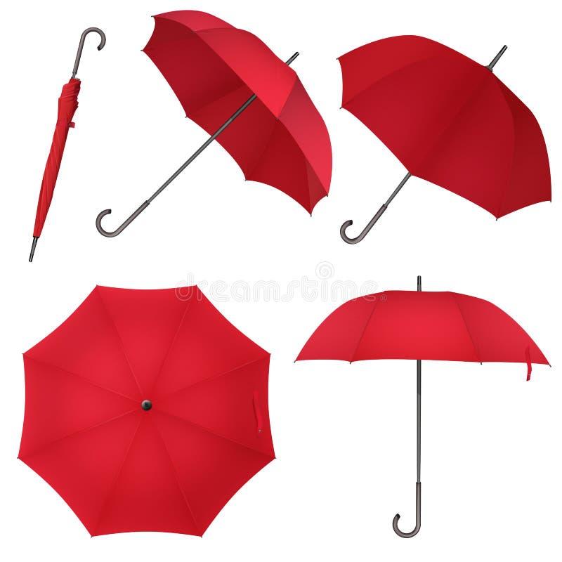 Czerwony pusty klasyczny round deszczu parasol Fotografii Realistyczna Parasolowa wektorowa ilustracja ilustracji