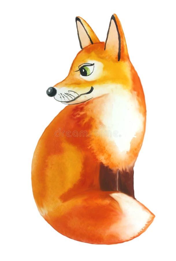 Czerwony puszysty Fox obsiadanie obracający lewica i słucha ilustracji