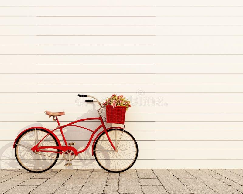 Czerwony retro bicykl z koszem i kwiatami przed białą ścianą, tło royalty ilustracja