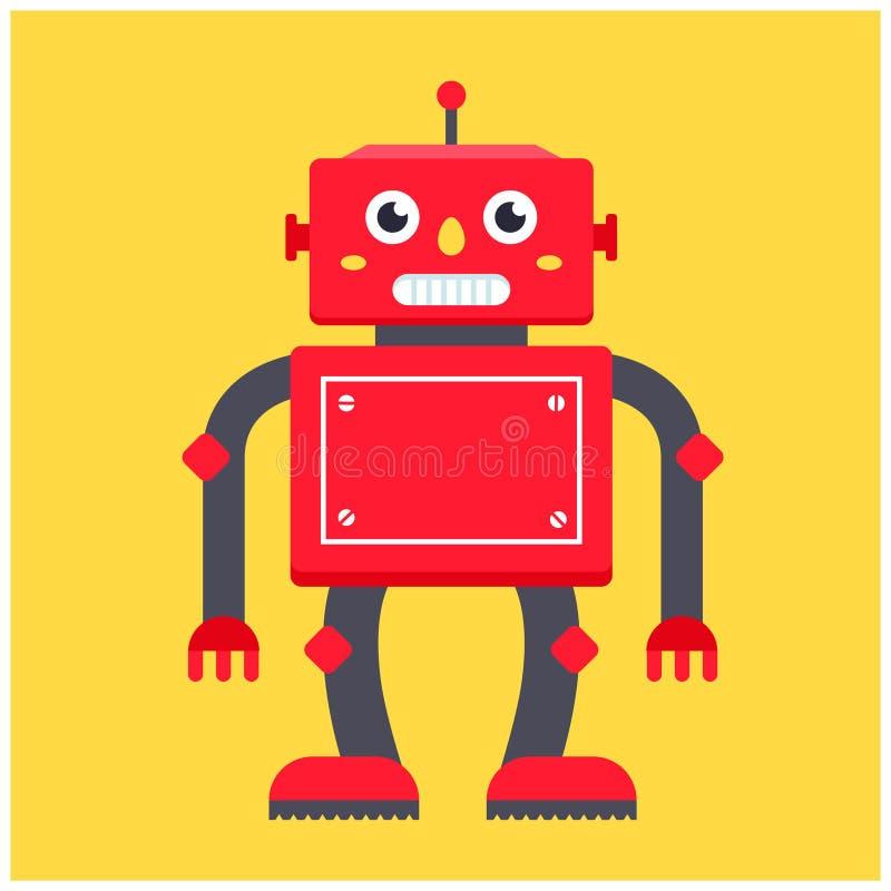 Czerwony retro robot na żółtym tle royalty ilustracja
