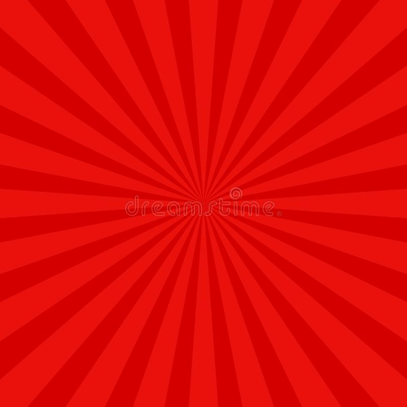 Czerwony retro słońce promienia tło - wektorowy graficzny projekt z promieniowymi promieniami ilustracji