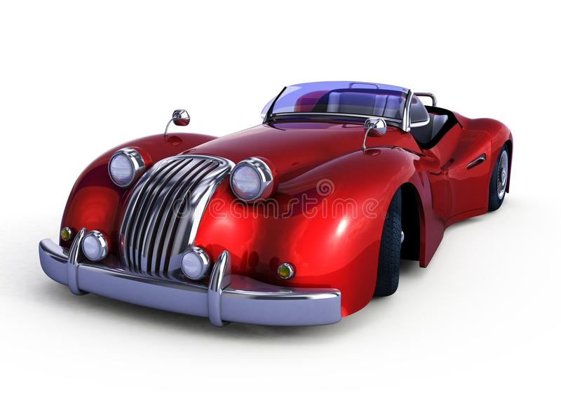 Czerwony retro samochód royalty ilustracja