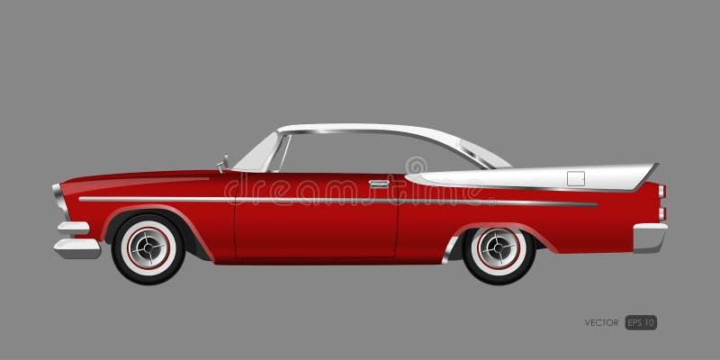 Czerwony retro samochód na szarym tle Rocznika kabriolet w realistycznym stylu royalty ilustracja
