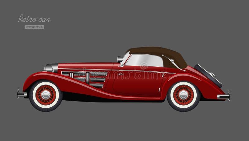 Czerwony retro samoch?d na szarym tle Rocznika kabriolet w realistycznym stylu Boczny widok 3D pojazd Szczeg??owy wizerunek royalty ilustracja