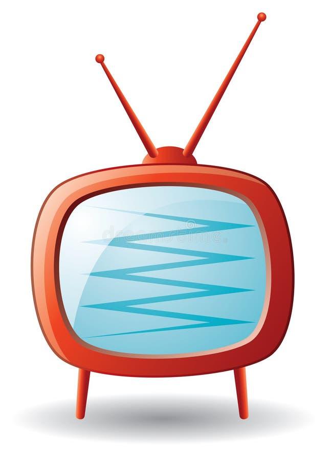 Download Czerwony retro set tv ilustracja wektor. Ilustracja złożonej z zaciemnia - 13330210