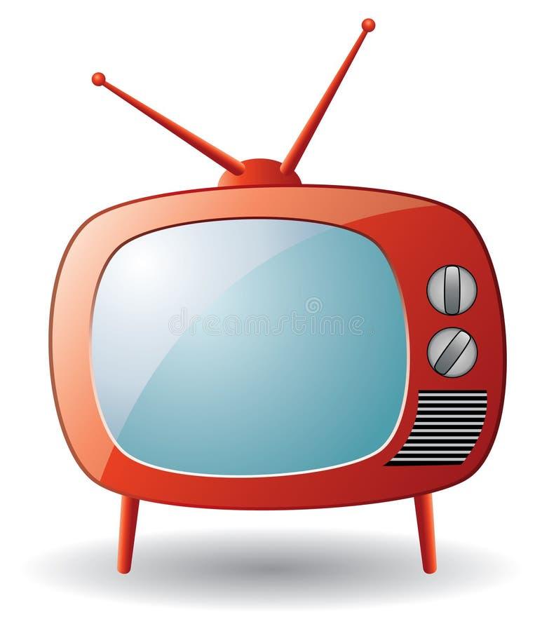 czerwony retro set tv royalty ilustracja