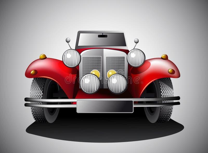Czerwony rocznika samochód   ilustracji