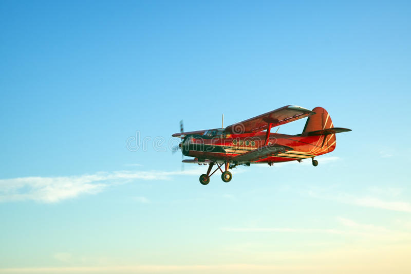 Czerwony rocznika samolot fotografia stock