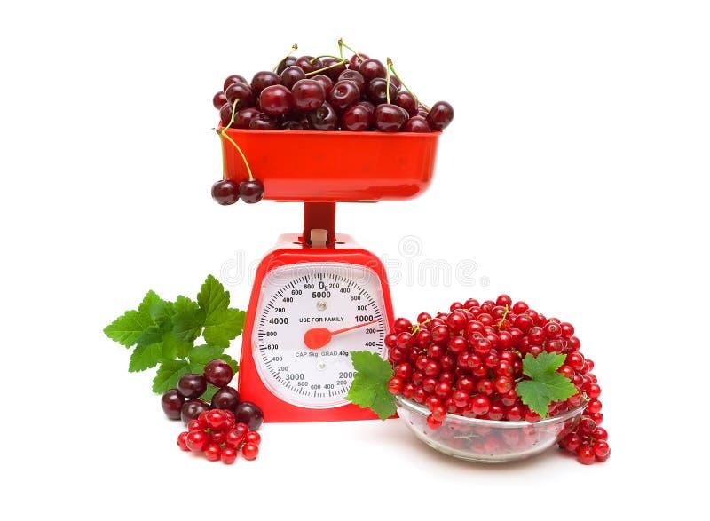 Czerwony rodzynek i wiśnia, kuchni skala na białym tle zdjęcia stock