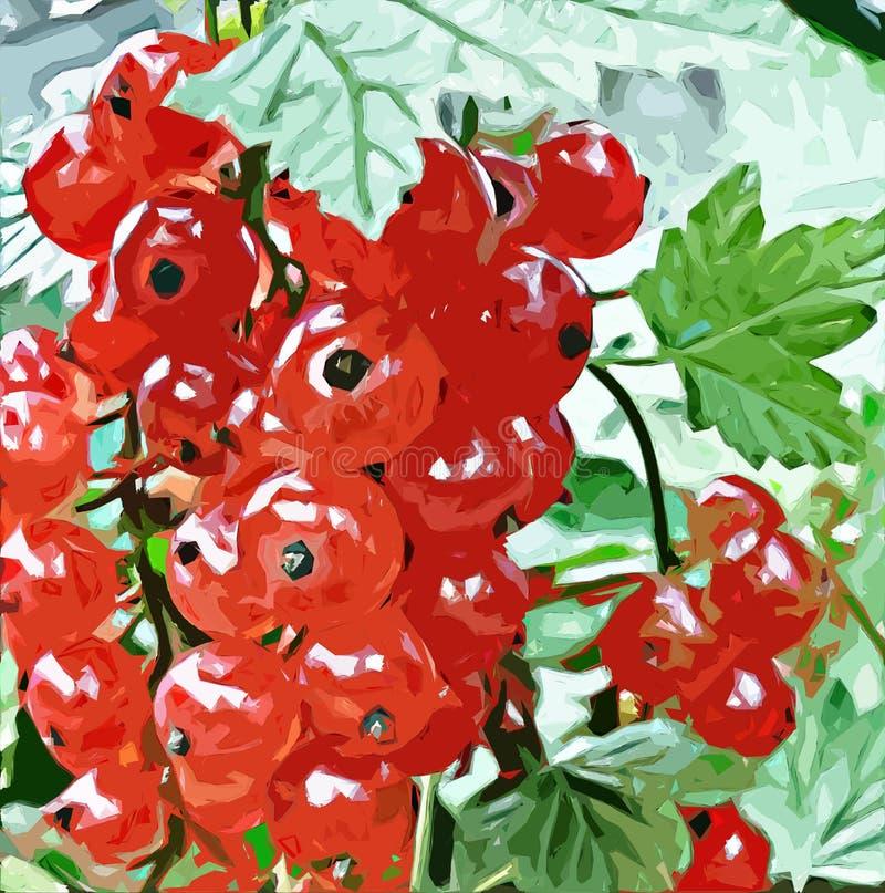 Czerwony rodzynek w ogródzie ilustracji