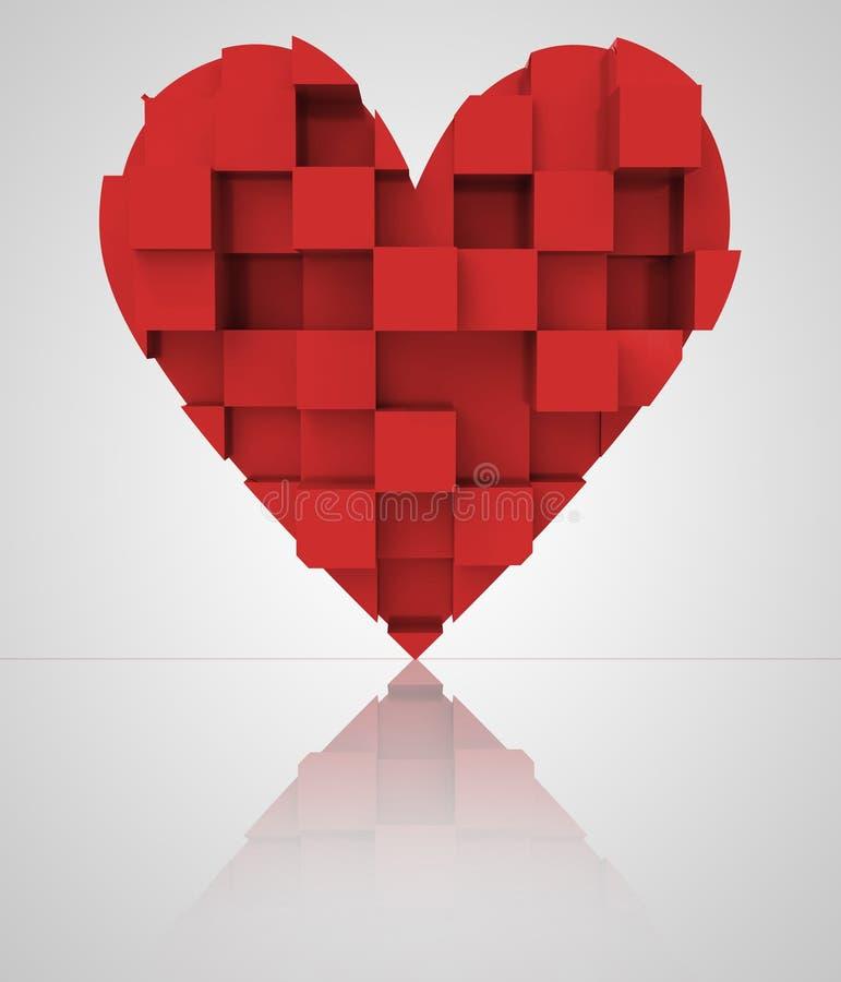 Czerwony romantyczny trójwymiarowy kubiczny serce royalty ilustracja