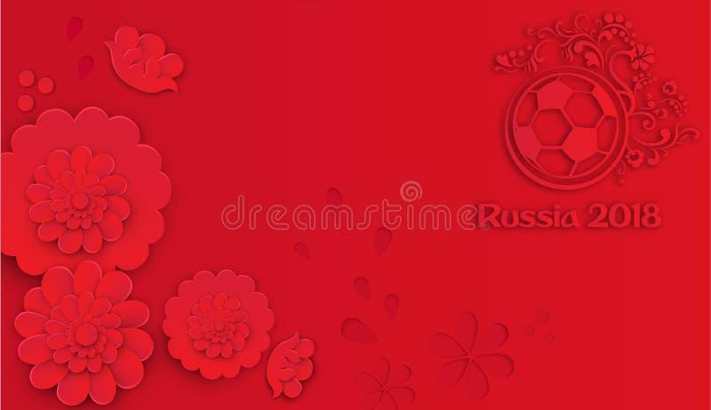 Czerwony Rosja 2018 futbolowych tło z piłki nożnej piłką ilustracja wektor
