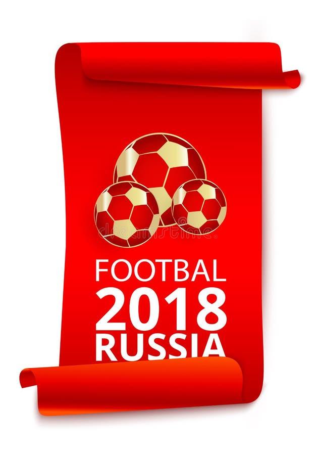 Czerwony Rosja 2018 pucharów świata futbolu etykietki ustawiać ilustracja wektor