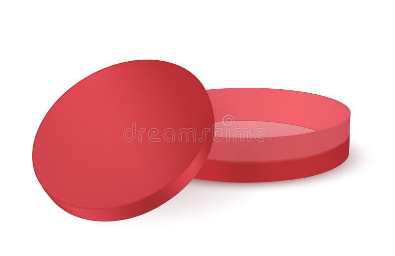 Czerwony round karton z deklem royalty ilustracja