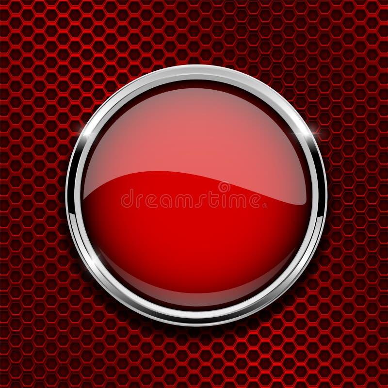 Czerwony round szklany guzik z metal ramą na czerwieni dziurkował tło ilustracja wektor
