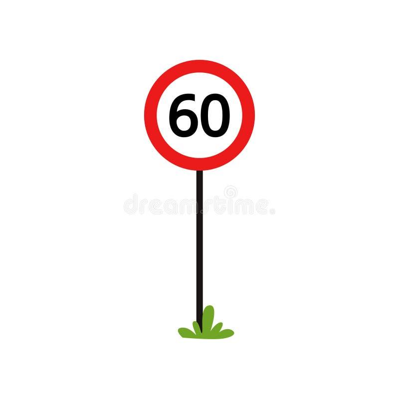 Czerwony round znak z liczbą 60 - wskazuje maksymalnej prędkości ograniczenie Płaski wektorowy projekt dla książki ruch drogowy r royalty ilustracja