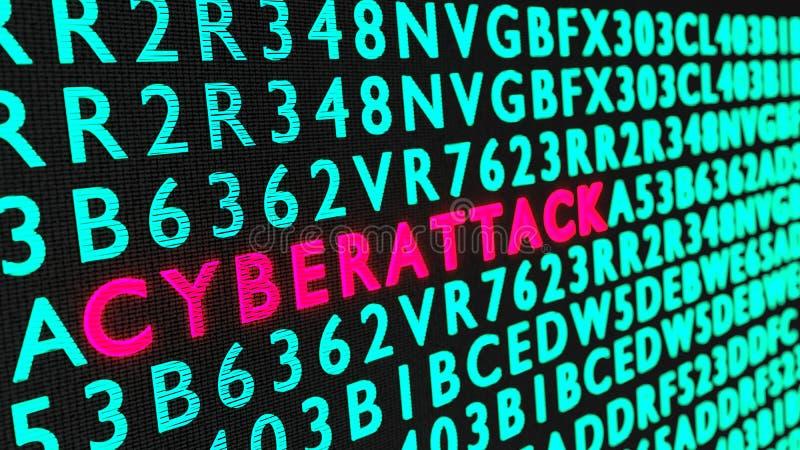 Czerwony rozjarzony słowa cyberattack na czarnej ścianie otaczającej zielenią zdjęcia stock