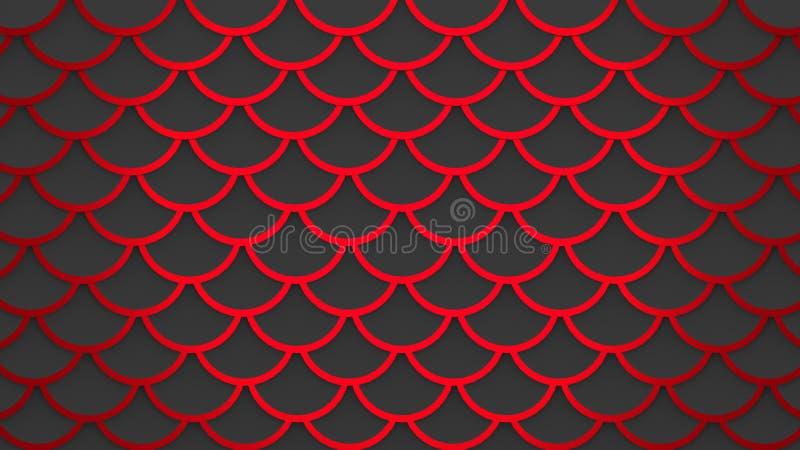 Czerwony rybich skal zmrok - szarości tła 3D deseniowa morska ilustracja royalty ilustracja
