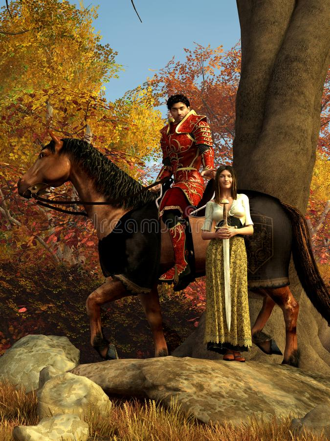Czerwony rycerz i dama ilustracji