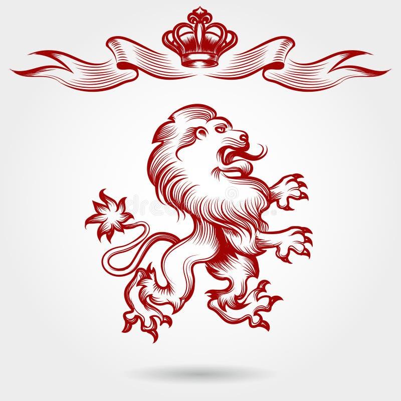 Czerwony rytownictwo korony i lwa nakreślenie royalty ilustracja