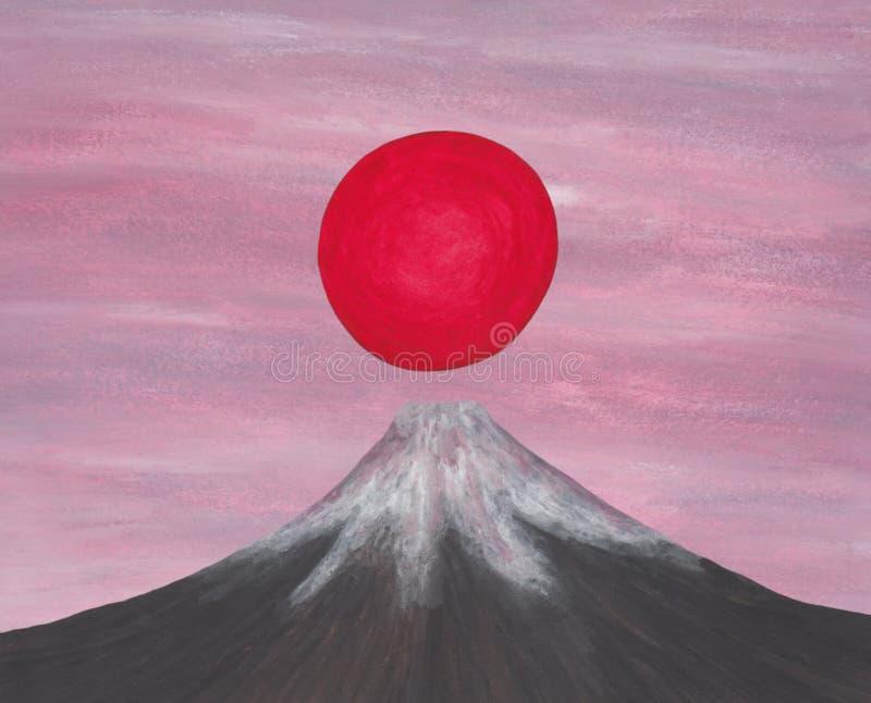 Czerwony słońca wydźwignięcie nad Japan Fuji góra od mój jaźń tworzącego wizerunek serii ` duch Azja II, 2018 ` royalty ilustracja