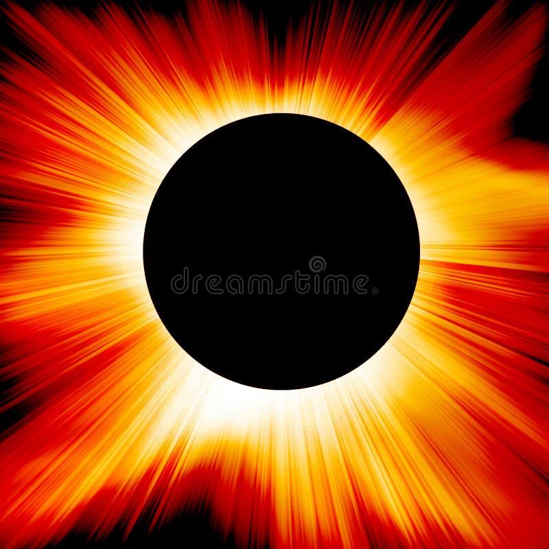 Czerwony słoneczny zaćmienie ilustracja wektor