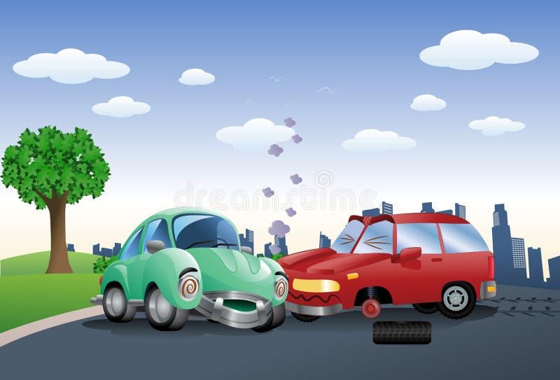 Czerwony samochód niszczący w trzaska ciupnięcia zieleni samochodzie ilustracja wektor