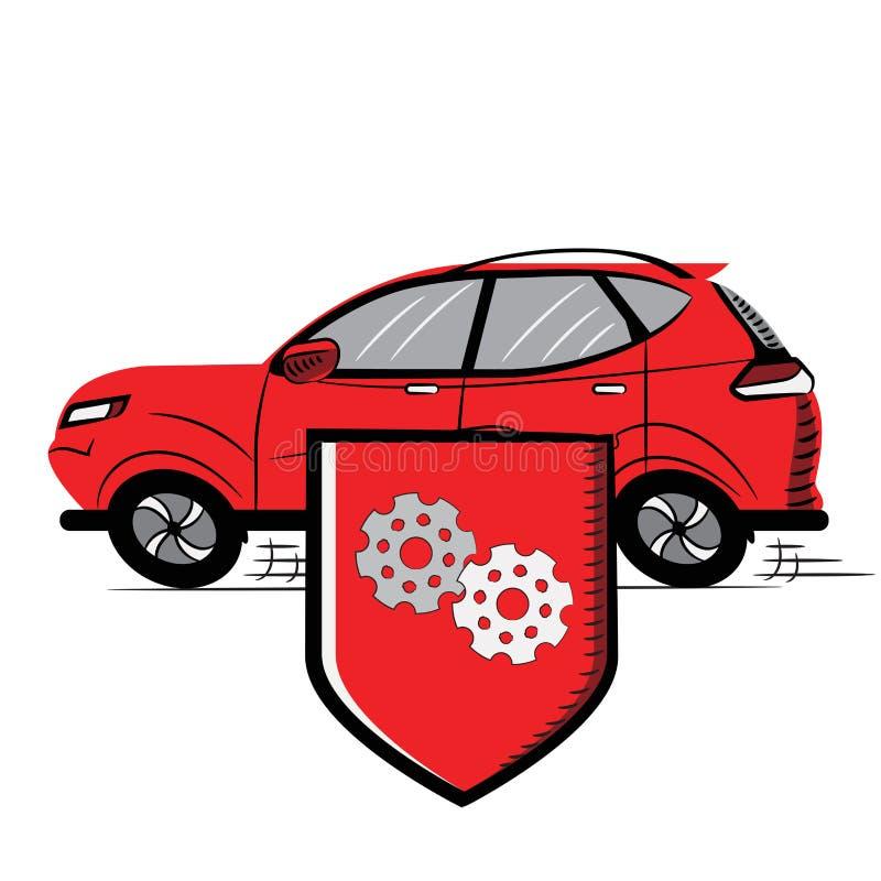 Czerwony samochód, osłona z przekładniami ikona projekta ilustraci zapasu use wektor tw?j przejrzysty Biel odizolowywaj?cy ilustracji
