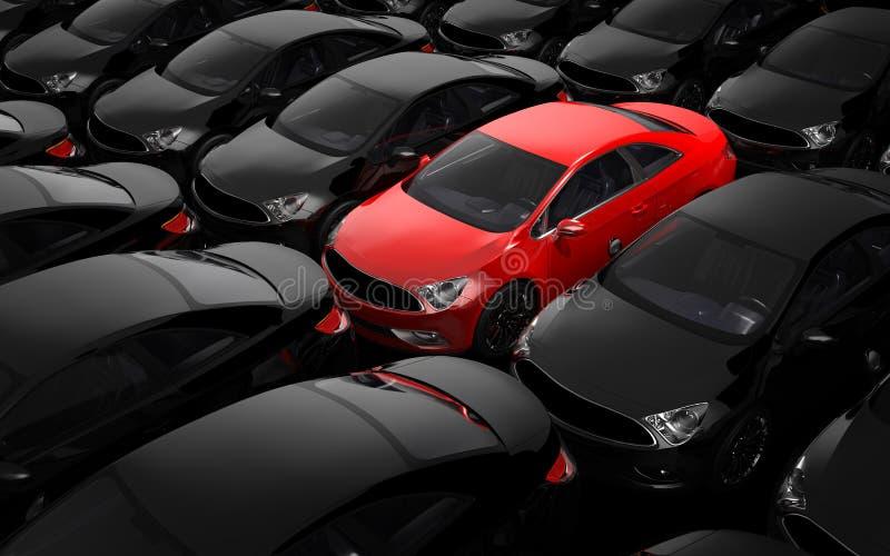 Czerwony samochód otaczający czarnymi samochodami ilustracja wektor