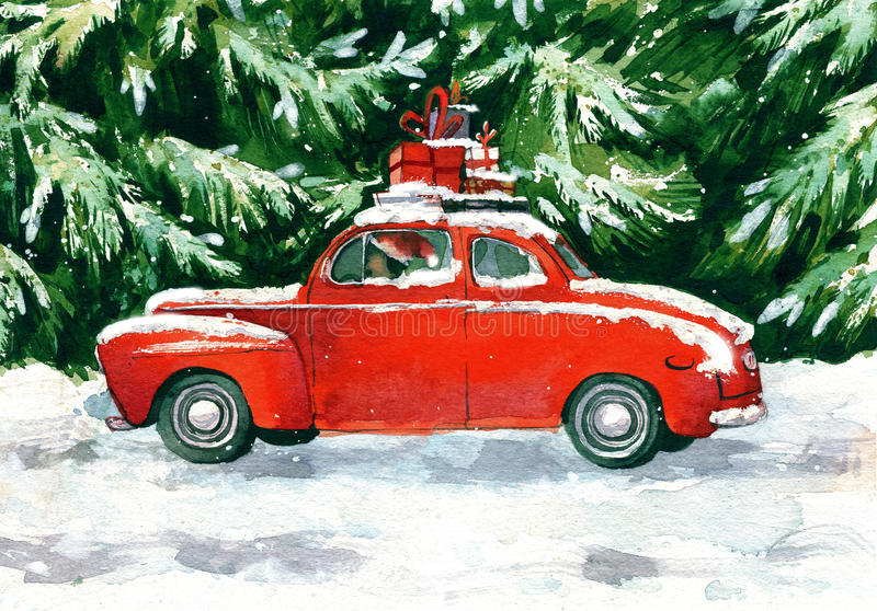 Czerwony samochód z boże narodzenie prezentami w zielonym lesie royalty ilustracja