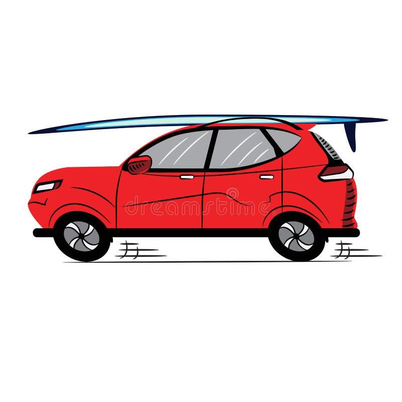 Czerwony samochód z Surfboard styl ikona symbol Znak projekta ilustraci zapasu use wektor tw?j przejrzysty Biel odizolowywaj?cy royalty ilustracja
