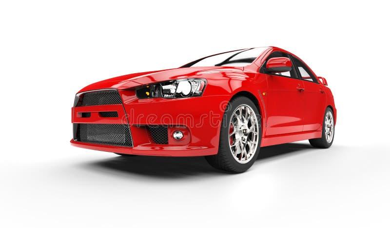 czerwony samochód zlotna ilustracja wektor