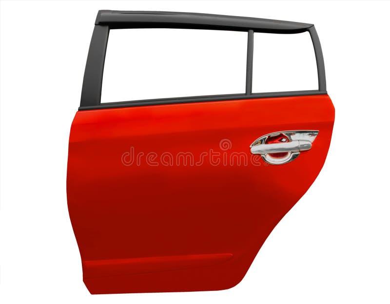 Czerwony samochodowy drzwi odizolowywający na białym tle z klamerki ścieżką obraz stock