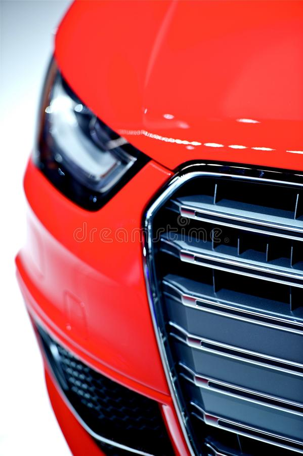 Czerwony Samochodu Przodu Zbliżenie obrazy stock