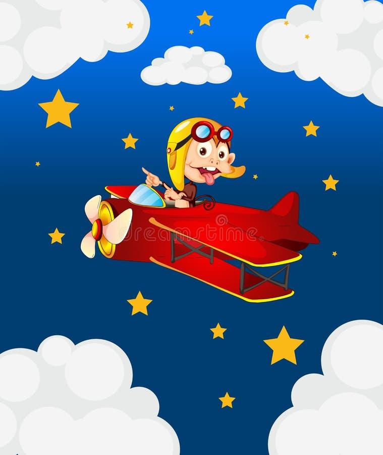 Czerwony samolot z chełpliwą małpą ilustracja wektor