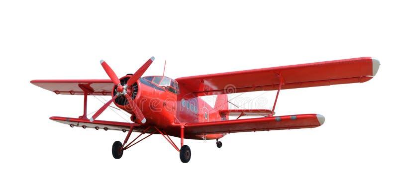 Czerwony samolotowy biplan z tłokowym silnikiem fotografia royalty free
