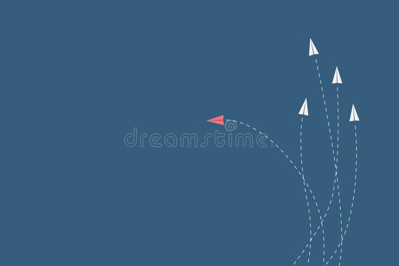 Czerwony samolotowy odmienianie kierunek, biel i ones Nowy pomysł, zmiana, trend, odwaga, kreatywnie rozwiązanie, innowacja a