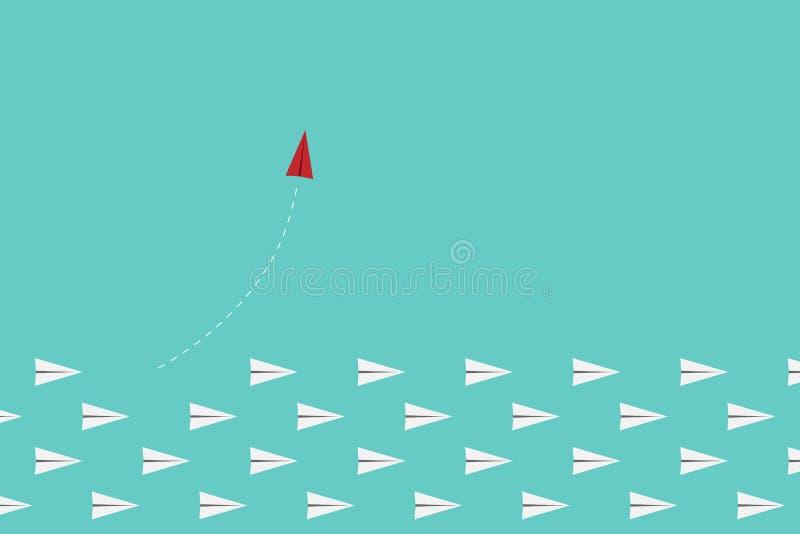 Czerwony samolotowy odmienianie kierunek, biel i ones Nowy pomysł, zmiana, trend, odwaga, kreatywnie rozwiązanie, innowacja a ilustracja wektor