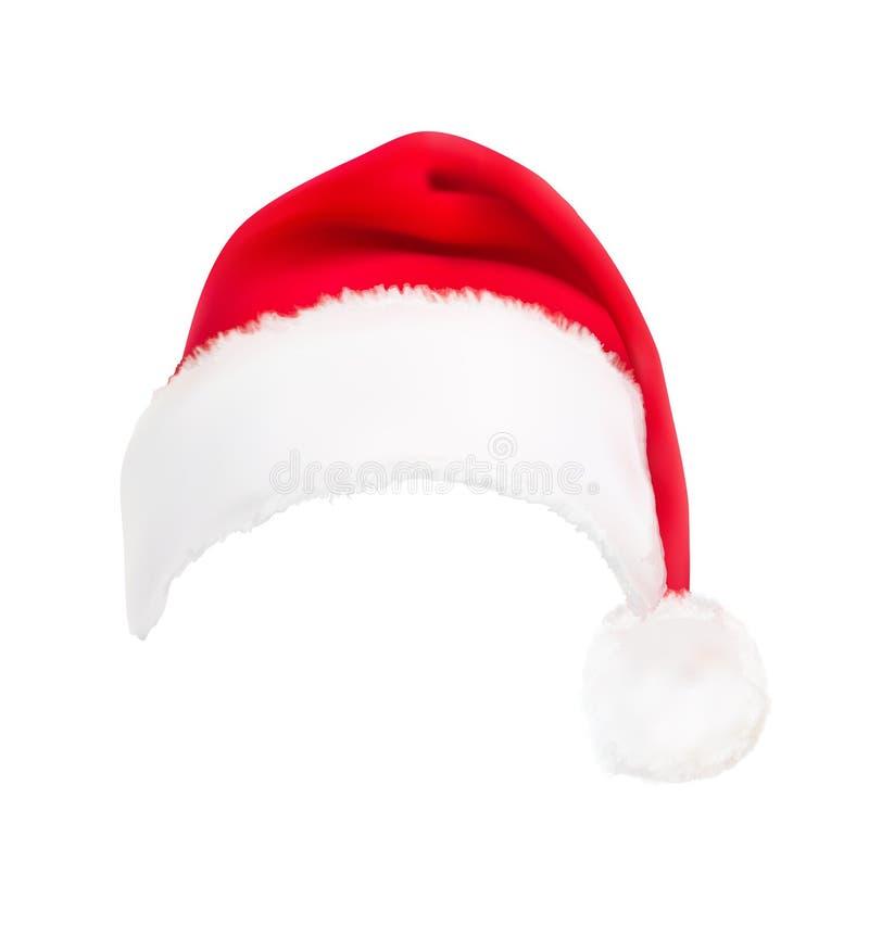 Czerwony Santa kapelusz. Wektor. ilustracji