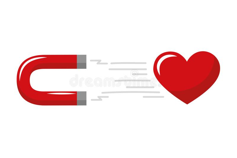 Czerwony serca i magnesu przyciąganie ilustracji