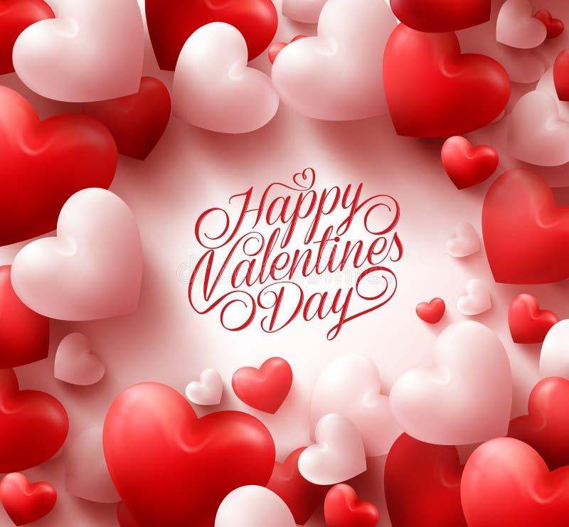 Czerwony serca tło z Słodkimi Szczęśliwymi walentynka dnia powitaniami ilustracji