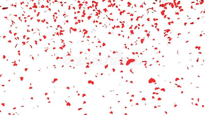 Czerwony serce confetti spadać ilustracja wektor